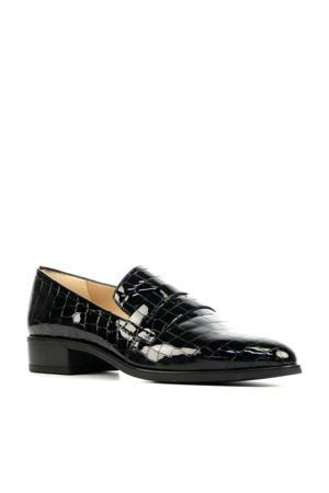Barber  lakleren loafers met crocoprint zwart