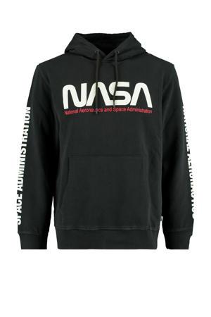 hoodie met printopdruk washed black