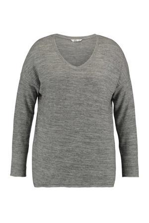 gemêleerde fijngebreide trui Skadi grijs melange