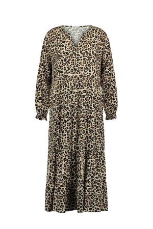 maxi jurk Estelle met panterprint en volant beige/bruin/zwart