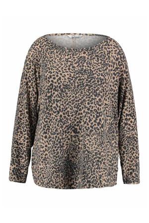 fijngebreide trui Lia met panterprint lichtbruin/zwart
