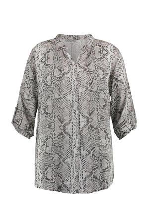 blouse Philippa met slangenprint lichtgrijs/antraciet