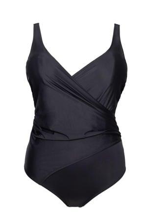 +size badpak met overslag zwart