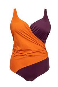 Plaisir +size badpak met overslag donkerrood/oranje, Donkerrood/oranje