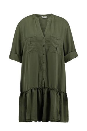 blousejurk Paula met volant olijfgroen
