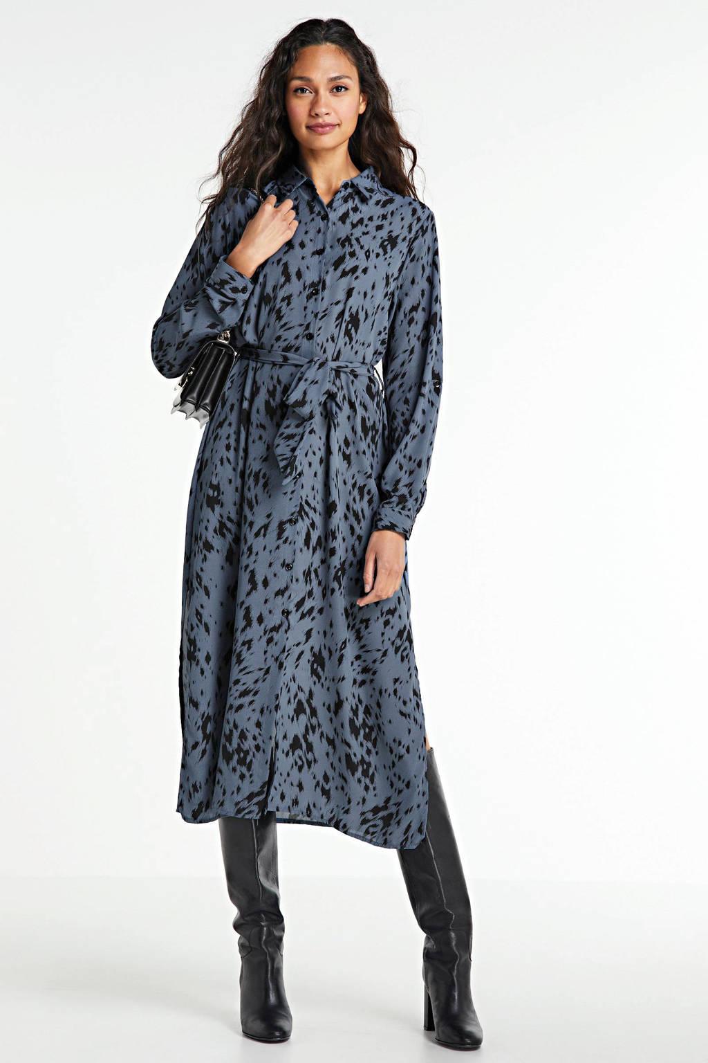 SisterS Point maxi jurk met all over print en ceintuur blauw, Blauw