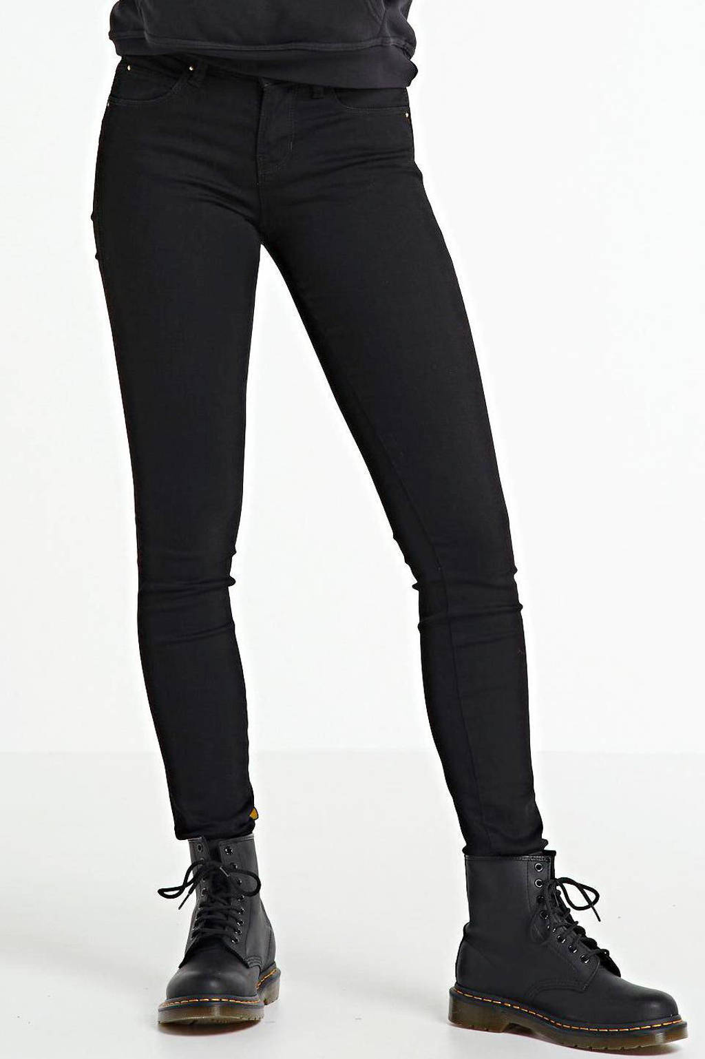 Yellow Blue Denim mid waist super skinny jeans Yuliya black, Black