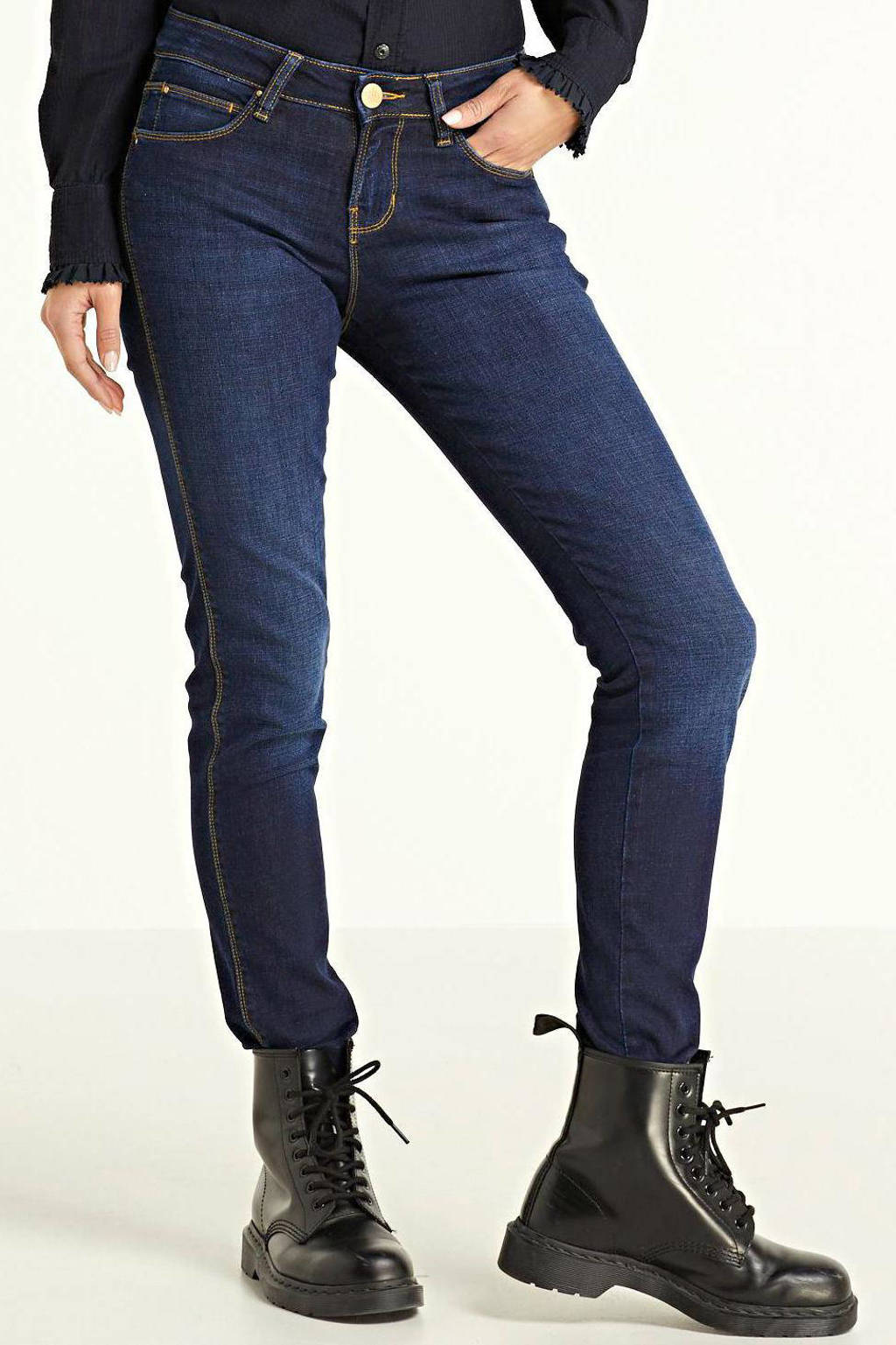 Yellow Blue Denim mid waist super skinny jeans Yuliya dark, Dark