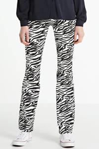 Kendall + Kylie flared jeans met zebraprint zwart/ wit
