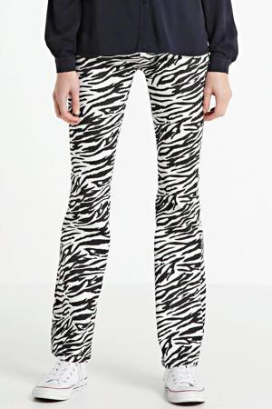 flared jeans met zebraprint zwart/ wit
