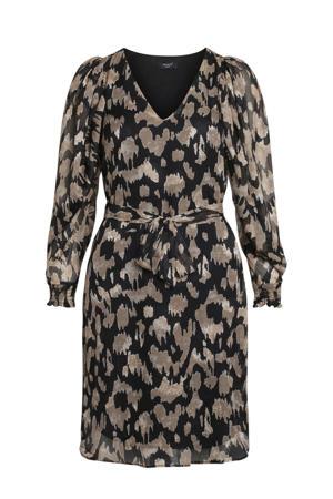 jurk met all over print en glitters zwart/goud