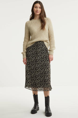 semi-transparante rok met all over print zwart/zand