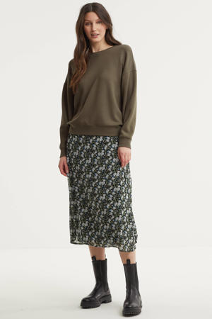 semi-transparante rok met all over print groen