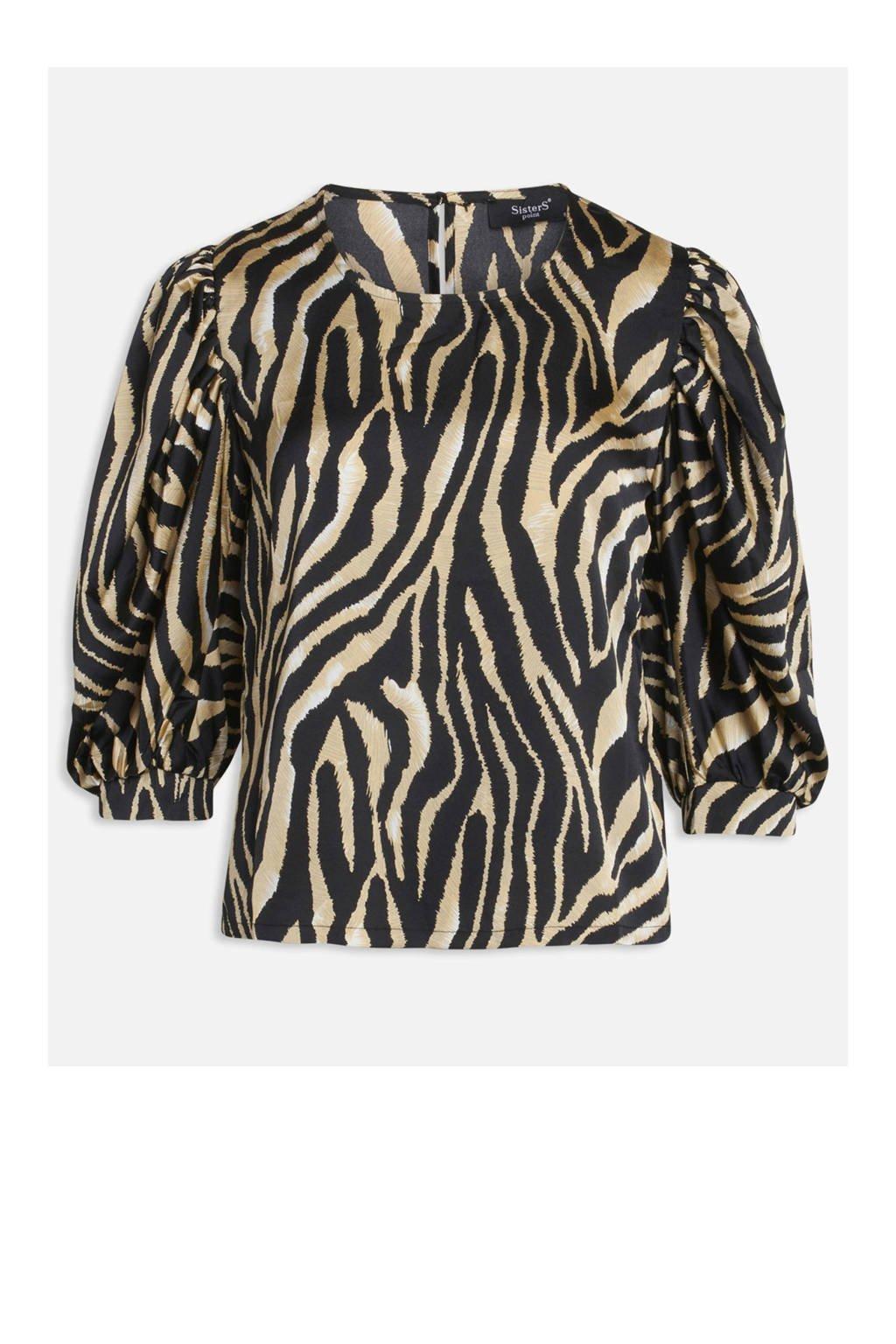 SisterS Point blouse met zebraprint zwart, Zwart