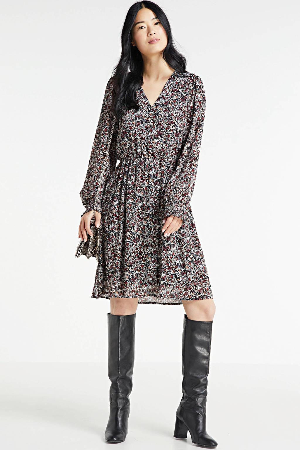 MSCH Copenhagen gebloemde jurk Glorie Rikkelie zwart/ donkerrood, Zwart/ donkerrood