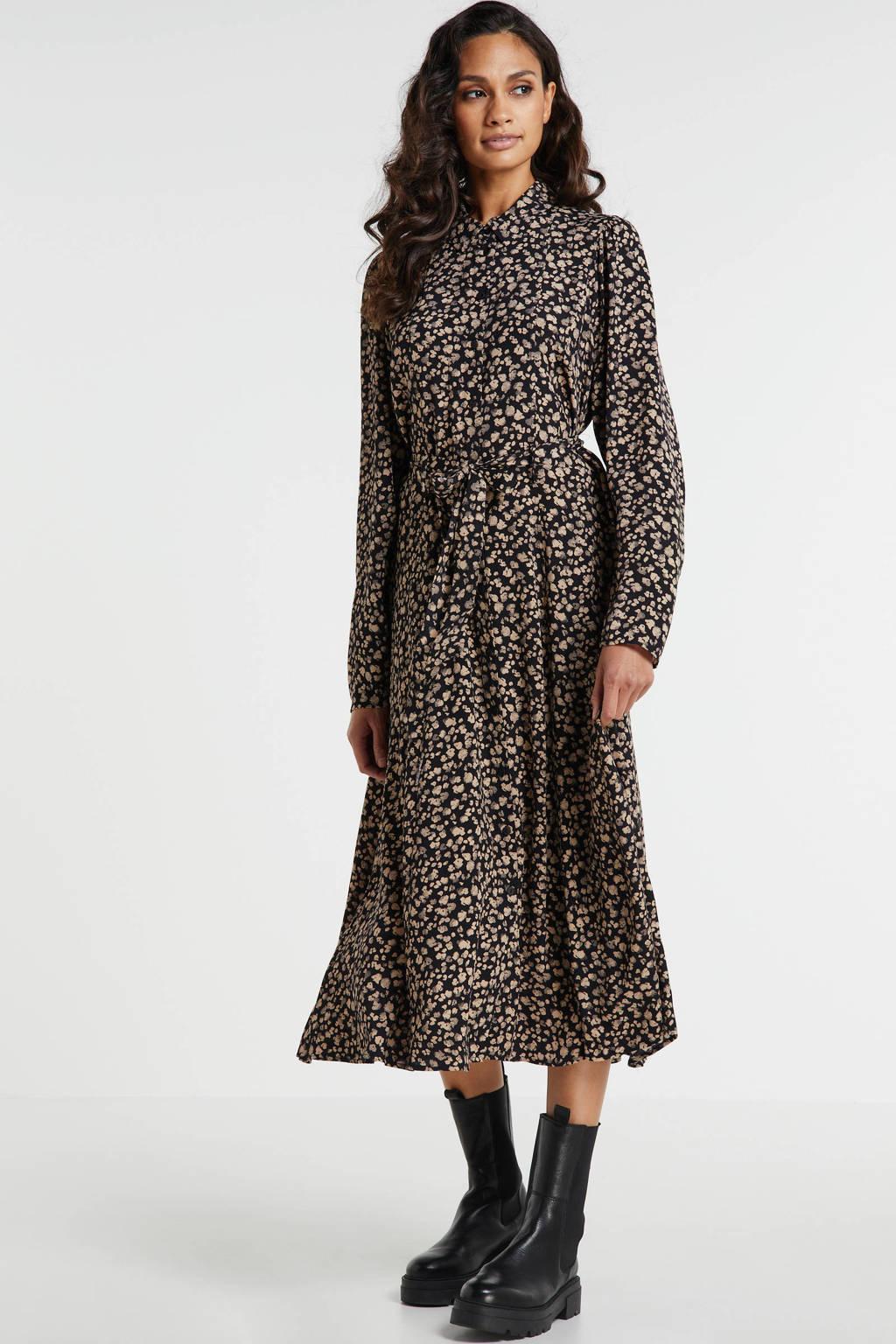 MSCH Copenhagen maxi blousejurk Meilla met all over print en ceintuur zwart/ zand