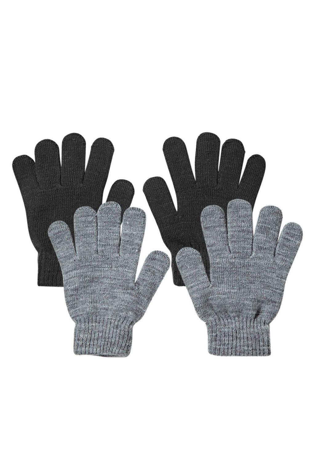 Sarlini gebreide handschoenen - set van 2 zwart, Zwart/multi