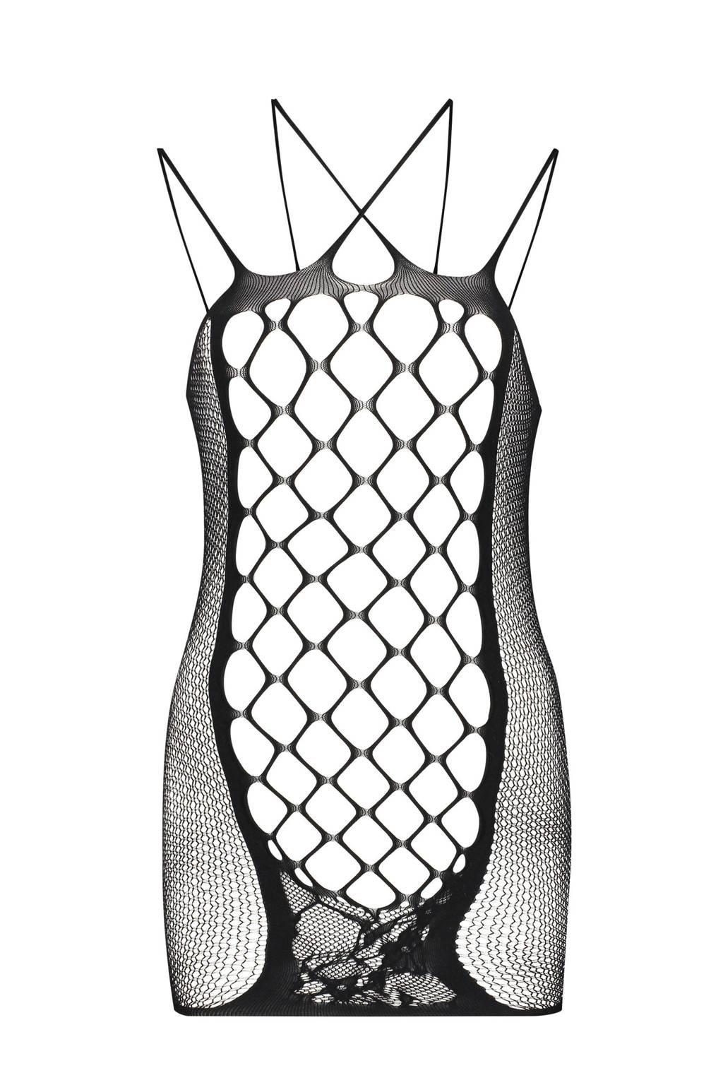 Hunkemöller Private fishnet slipdress zwart, Zwart