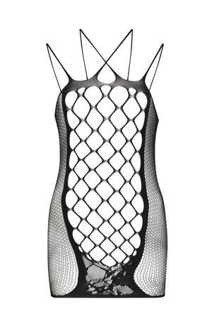 fishnet slipdress zwart