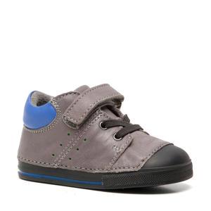 leren babyschoenen grijs/blauw