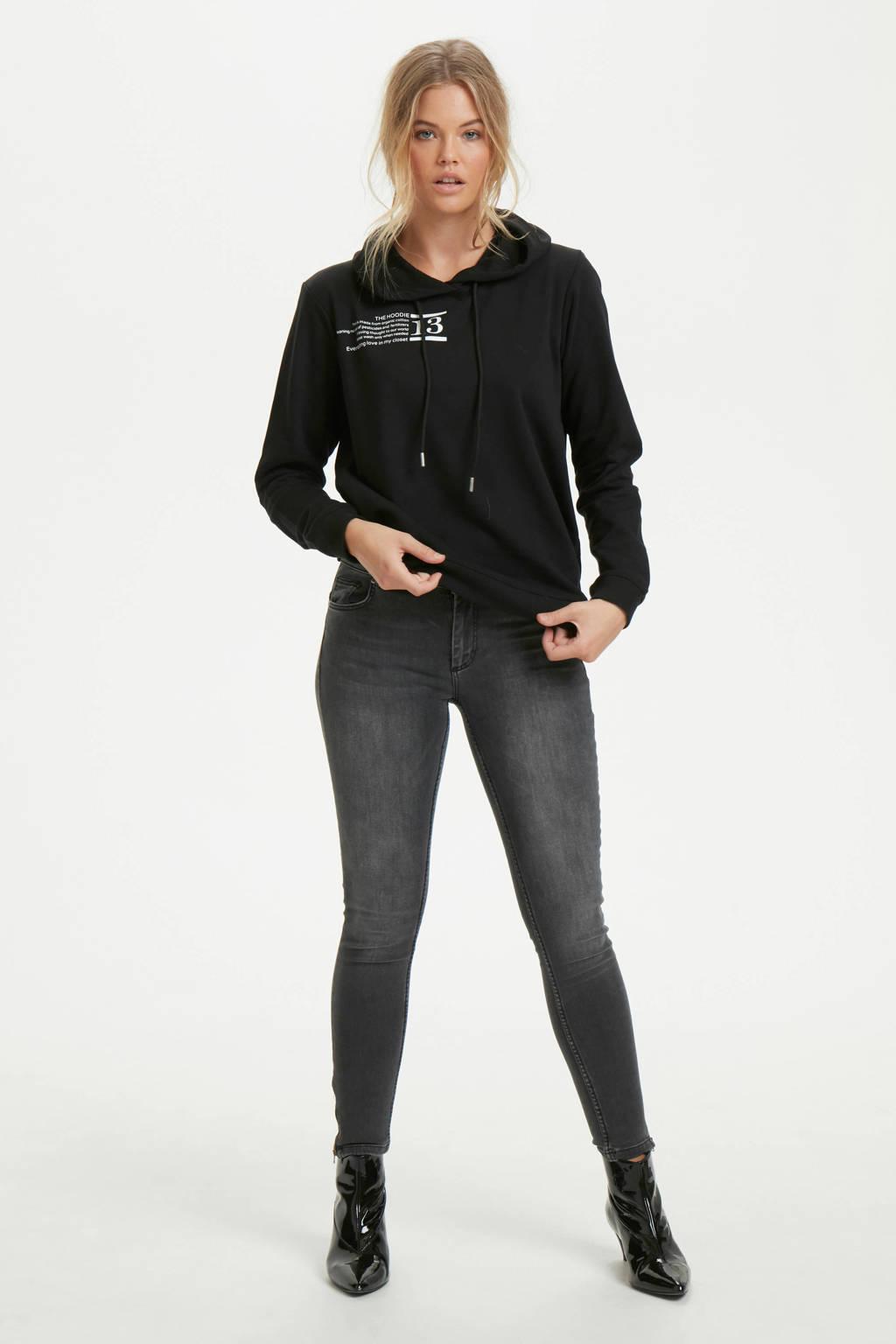 Denim Hunter regular fit hoodie met biologisch katoen zwart, Zwart