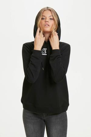 regular fit hoodie met biologisch katoen zwart
