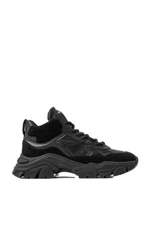 Tayke-Over High  leren chunky sneakers zwart