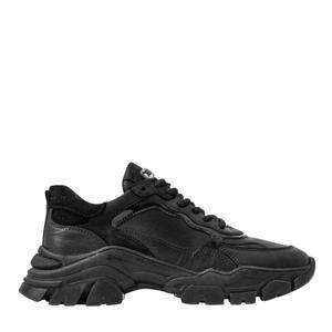 Tayke-Over  leren chunky sneakers zwart