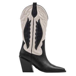 New-Kole Western  leren cowboylaarzen zwart/off white