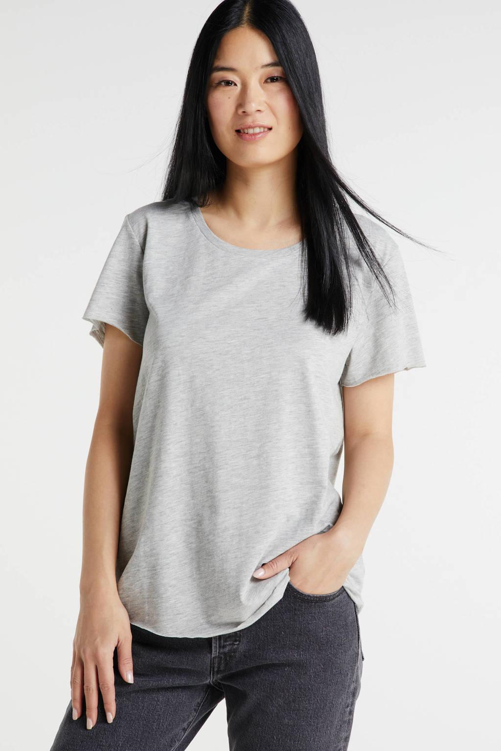 Denim Hunter gemêleerd T-shirt met biologisch katoen titanium melange, Titanium Melange
