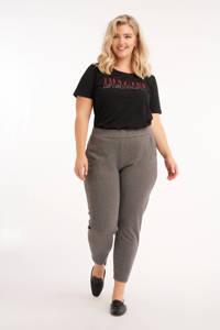 MS Mode straight fit broek met krijtstreep grijs/wit, Grijs/wit