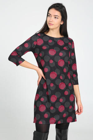 jurk met all over print zwart/wit/donkerrood