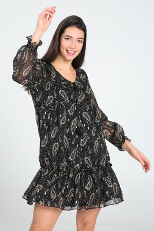 semi-transparante jurk met all over print en pailletten zwart/ecru/goud