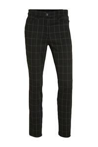 C&A Yessica geruite slim fit broek zwart/wit, Zwart/wit