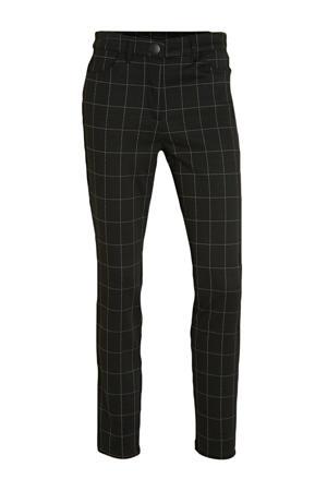 geruite slim fit broek zwart/wit
