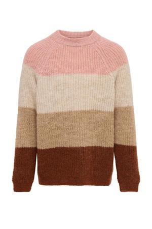 gestreepte trui Jade bruin/roze/beige