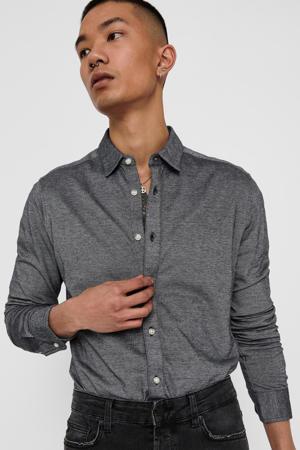slim fit overhemd zwart melange