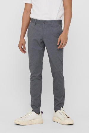 geruite tapered fit pantalon Mark donkerblauw
