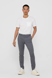 ONLY & SONS geruite tapered fit pantalon Mark donkerblauw, Donkerblauw