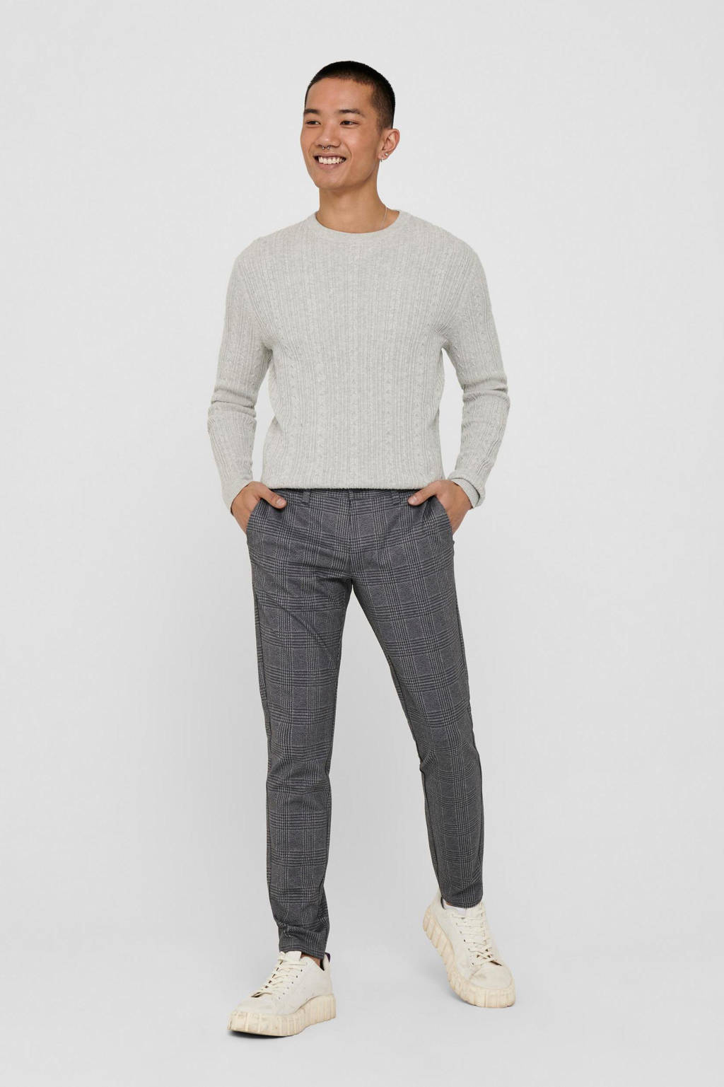 ONLY & SONS geruite tapered fit pantalon Mark zwart, Zwart