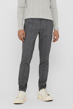 geruite tapered fit pantalon Mark zwart