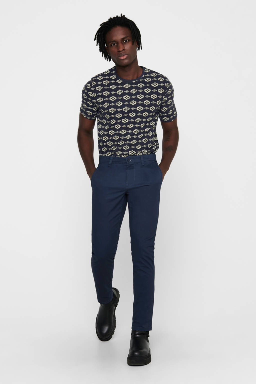 ONLY & SONS regular fit chino Will met biologisch katoen blauw, Blauw