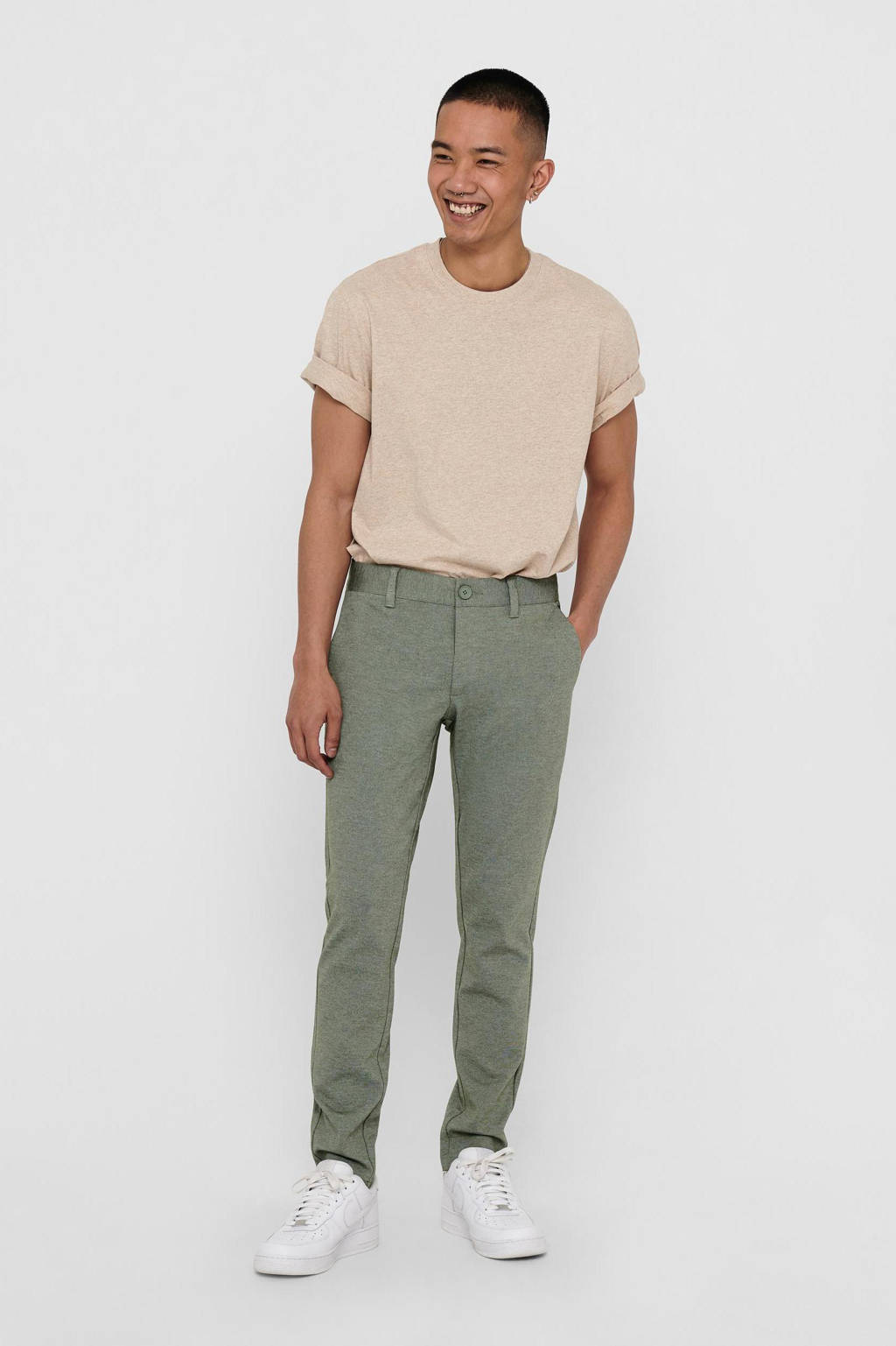 ONLY & SONS slim fit chino Mark groen, Groen