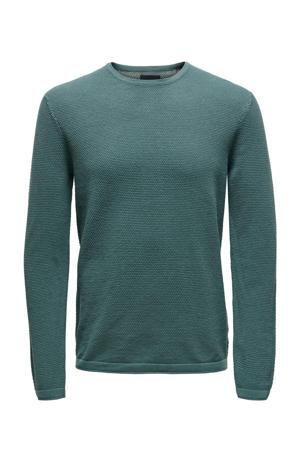 fijngebreide trui met textuur groen