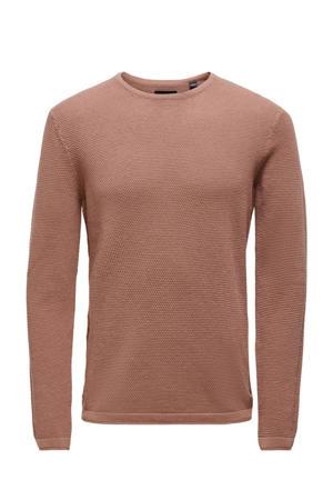 fijngebreide trui met textuur oudroze