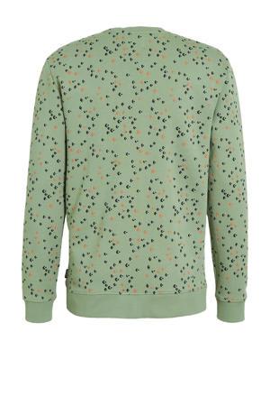 sweater Fletch met all over print groen