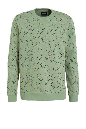 sweater Fletch met all over print groen