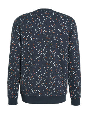 sweater Fletch met all over print donkerblauw