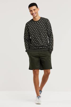 sweater Flossie met all over print grijsgroen