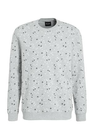 sweater Fletch met all over print grijs